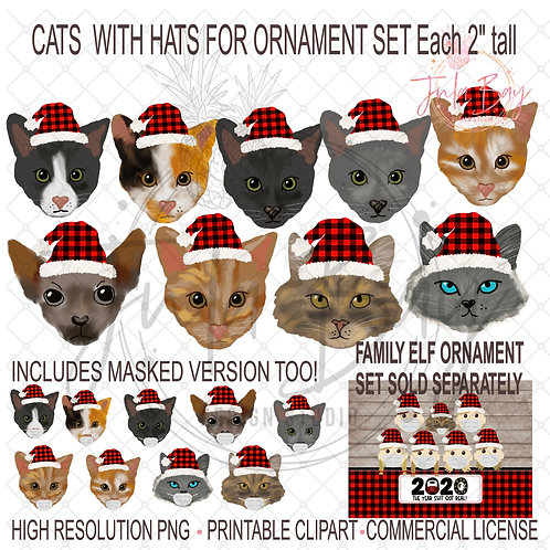 Cats with Masks and Santa Hats for Build Your Own Elf Family Ornament