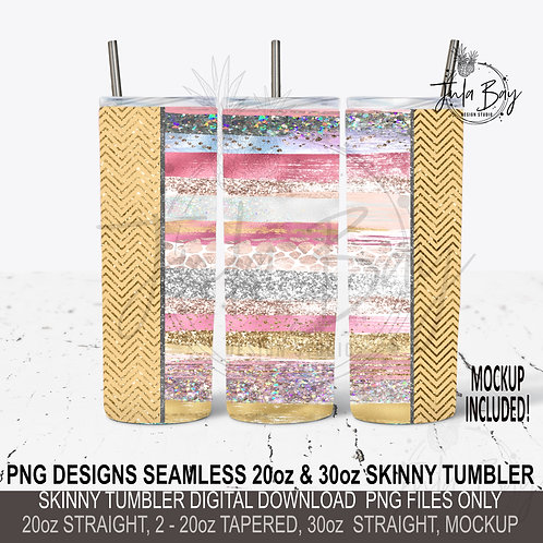 Skinny Tumbler Brush Strokes Rose Gold Full Tumbler Wrap PNG Glitter Paint
