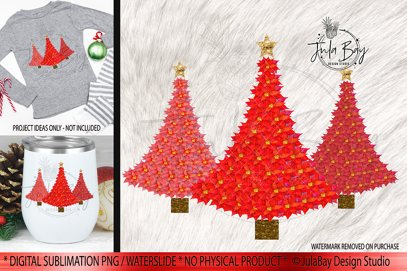 Poinsettia Christmas Tree Sublimation Design Download - PNG