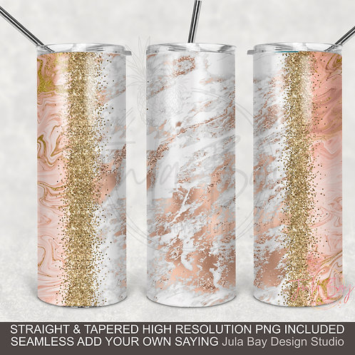 Rose Gold Marble Full Wrap PNG for Skinny Tumblers White Marble Glitter Classy