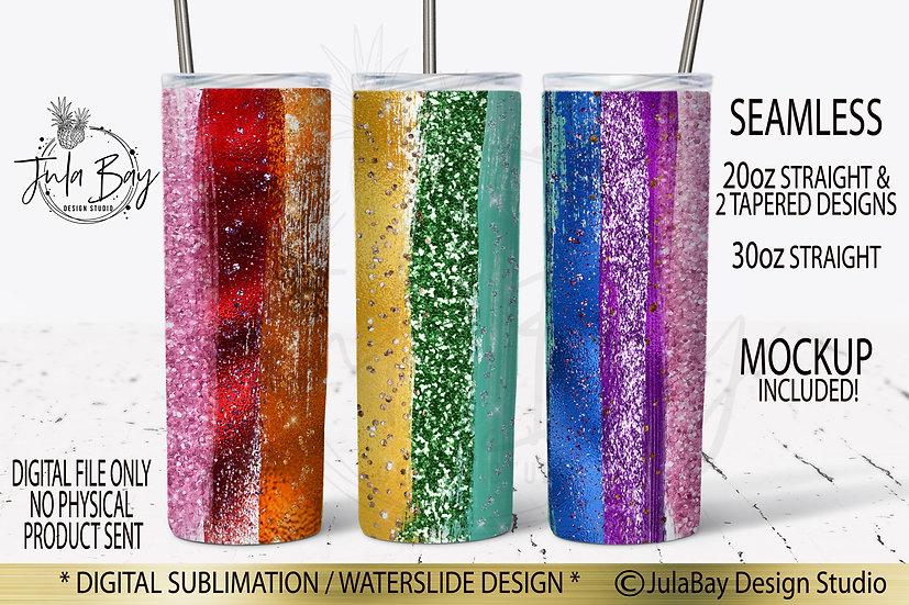 Pride LGBTQ Tumbler Design Rainbow Glitter Sublimation Wrap PNG