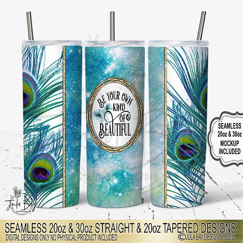 Peacock Seamless Full Wrap PNG Tumbler Wrap Be Your Own Kind of Beautiful Sub