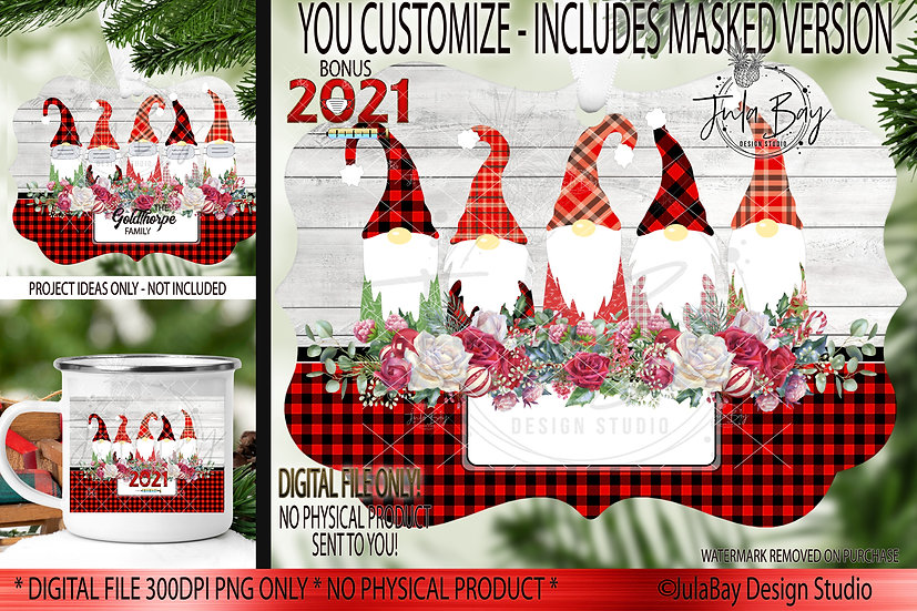 2021 Family Christmas Ornaments Family of 5 Gnomes with Masks Covid Chri