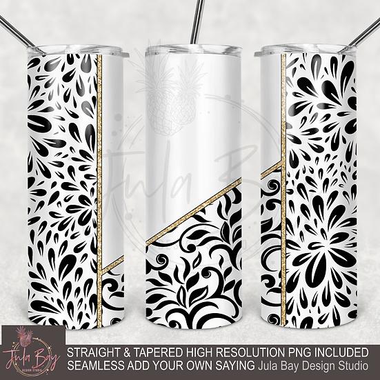 Seamless Full Tumbler Wrap 20oz Skinny Tumbler Tapered  Black and White Floral