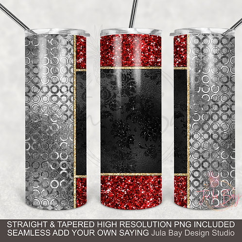 Red, Black and Silver Full Wrap 20oz Skinny Tumbler Wrap PNG Sublimation