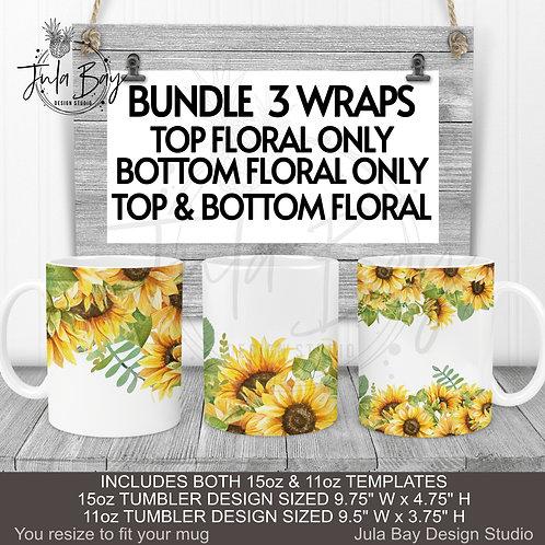 Sunflowers Floral Mug Wrap 11oz 15oz  Mug PNG BUNDLE of 3 Designs