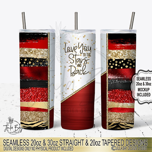 Valentines Day Skinny Tumbler Template Red Gold Black Paint Strokes