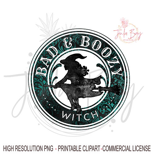 Funny Wine Tumbler Saying PNG Bad and Boozy Witch PNG