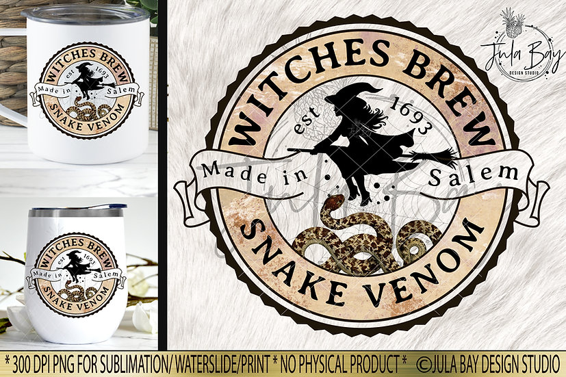 Witches Brew Snake Venom Halloween Label PNG Potion Label Elixir