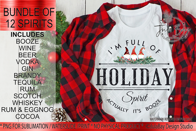 Full of Christmas Spirit Sublimation Bundle Actually It's Booze Drink Gnomes