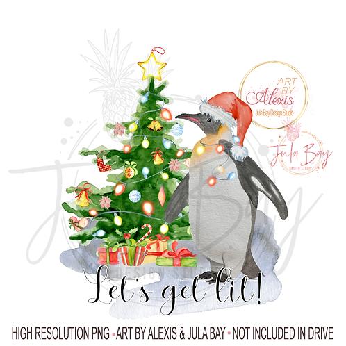 Penguin Christmas Lights Let's Get Lit PNG Funny Christmas Wine Sublimation
