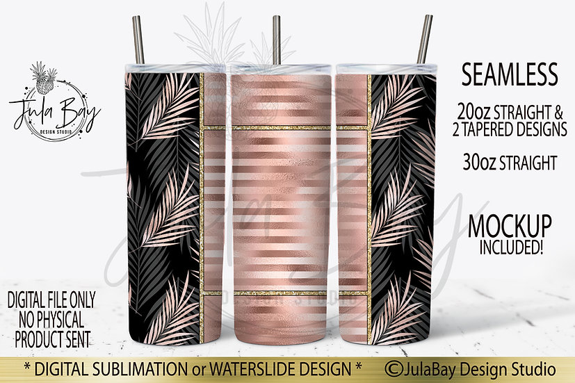 Tropical Rose Gold PNG Full Wrap Sublimation Design for 20oz Skinny