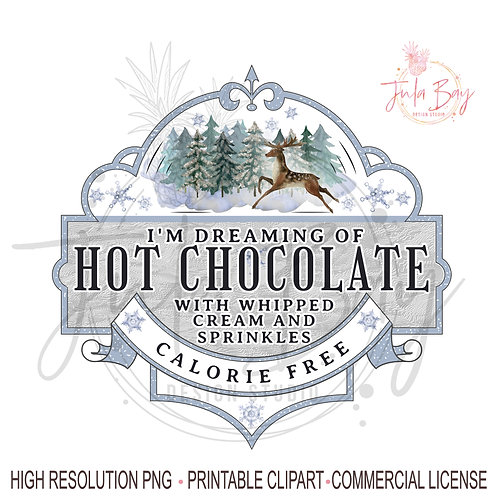 Winter  Hot Chocolate PNG Sublimation Design Instant Download Whipped Cream