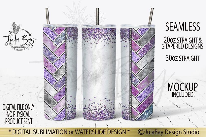 Herringbone Skinny Tumbler Design Purple Glitter Sublimation