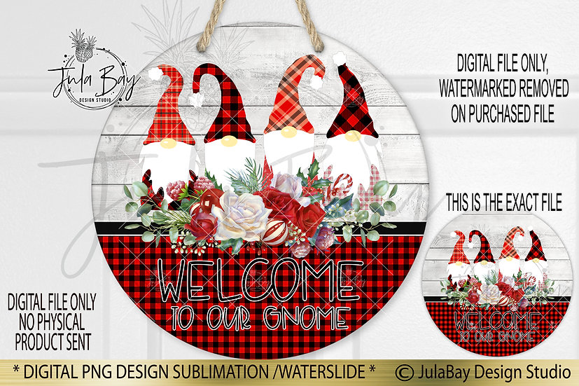Round Sublimation Door Hanger Merry Christmas PNG Welcome to my Gnome Family