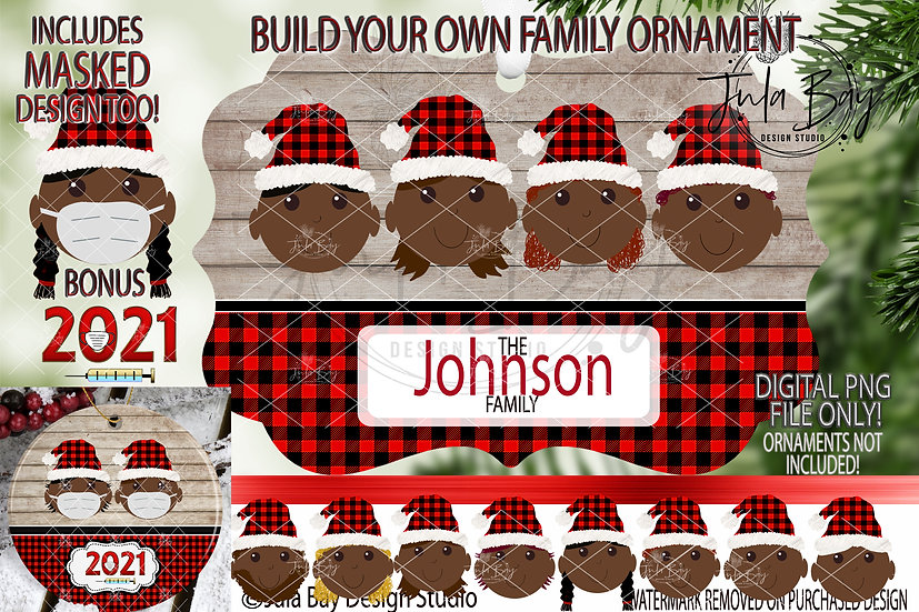 Dark Skin Elf with Mask Ornament Build Your Own Family African American