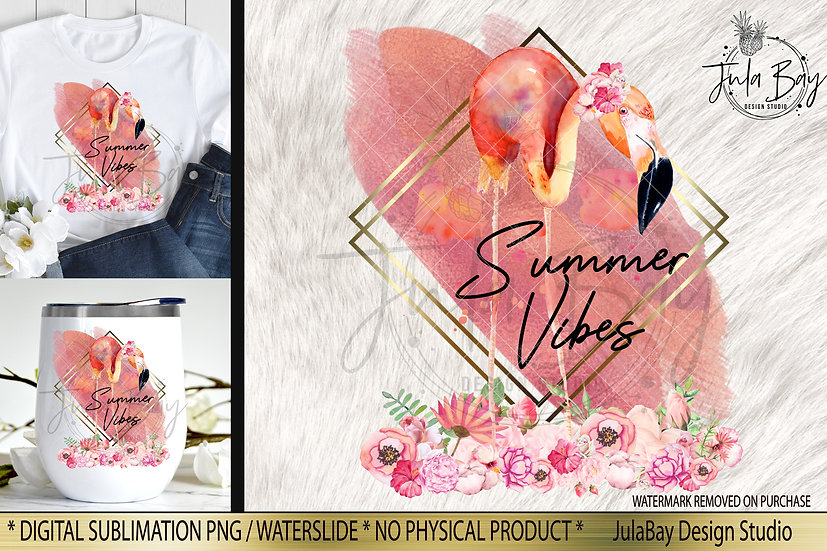 Summer Vibes Rose Gold Flamingo and Flowers Sublimation Design PNG