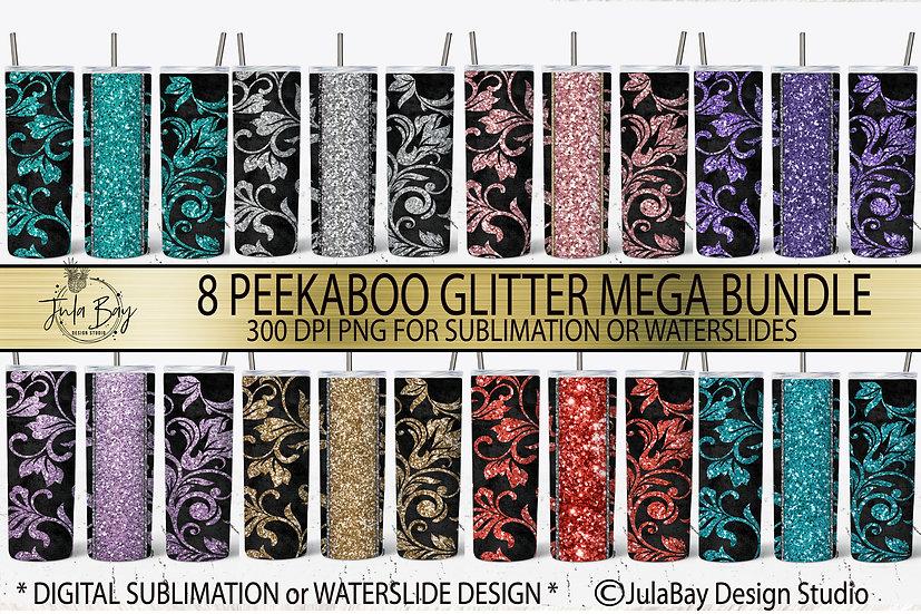 Tooled leather PNG Glitter Peekaboo Tumbler Design Bundle floral vines Swirls PN