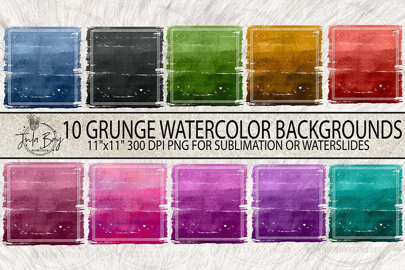 Grunge Watercolor Ombre Sublimation Backgrounds Bundle PNG