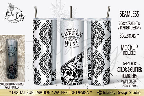 Damask Black and White Full Wrap PNG Split Cut Design Might Be Wine Tumbler