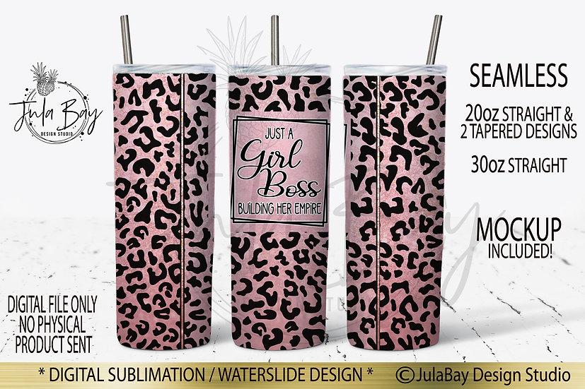 Girl Boss Building Her Empire Skinny Tumbler Design Rose Leopard Print PNG