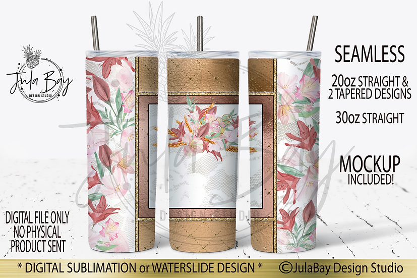 Skinny Tumbler Wrap PNG Prairie Lilies Hummingbird and Wheat Floral PNG