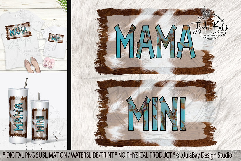 Mama & Mini PNG Set Cowhide Mama PNG Cowhide Mini Sublimation Design