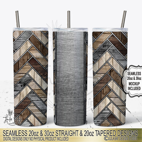 Masculine 20oz Skinny Tumbler Template Woodgrain Herringbone PNG #geolavish