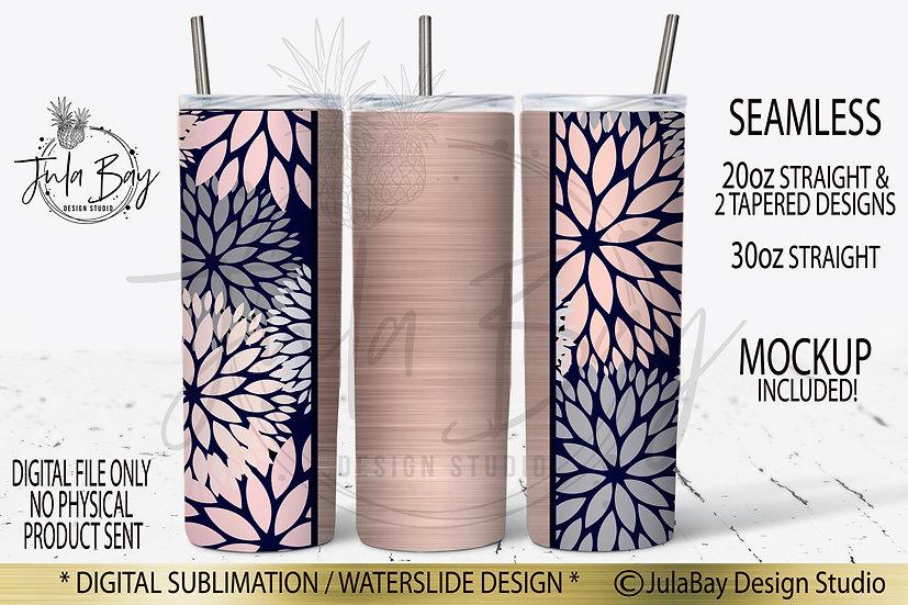 Skinny Tumbler Sublimation Design Rose Gold Dalia Floral PNG