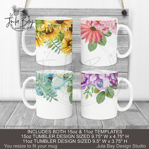 Multi Color Floral Mug Wrap 11oz 15oz Mug PNG BUNDLE Pink Purple Blue Sunflower