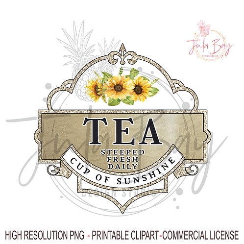 Tea Lover PNG Sublimation Design Cup of Sunshine Steeped Fresh Daily Sunflow