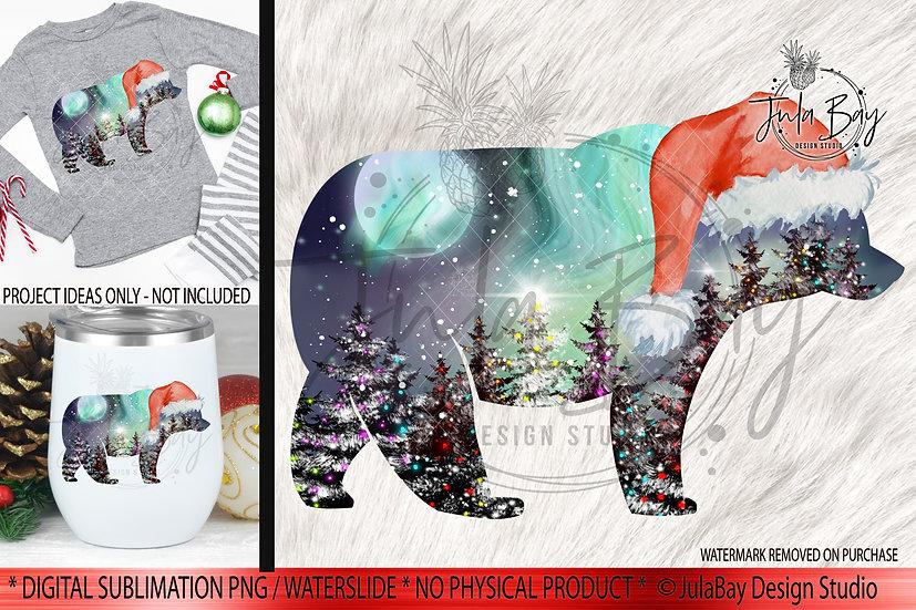 Christmas Sublimation Design Santa Bear Northern Lights Scene