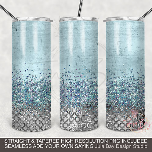 Blue and Silver Full Wrap PNG Sublimation Design Skinny Tumbler