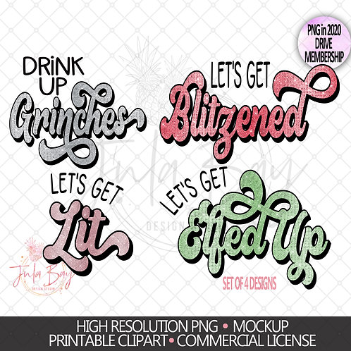Funny Christmas Drinking PNG Set Let's Get Blitzened Let's Get Elfed Up Lit