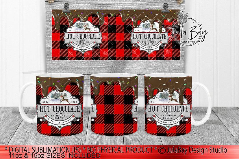 Hot Chocolate Drip PNG Buffalo Plaid Mug Full Wrap for 11oz and 15oz Coffee Mug