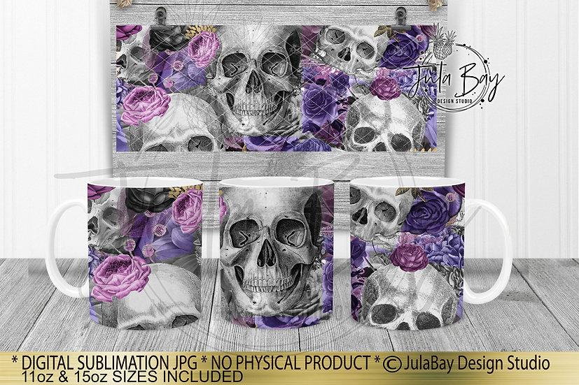 Skulls & Flowers Full Mug Wrap Sublimation Design Purple 11oz Coffee 15oz