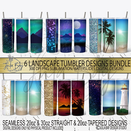Landscape Tumbler Template Bundle 2 Red, Gold Teal, Alcohol Ink
