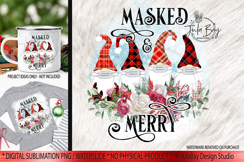 Masked & Merry Family of 4 Masked Gnomes PNG Christmas Gnome Sublimation Design
