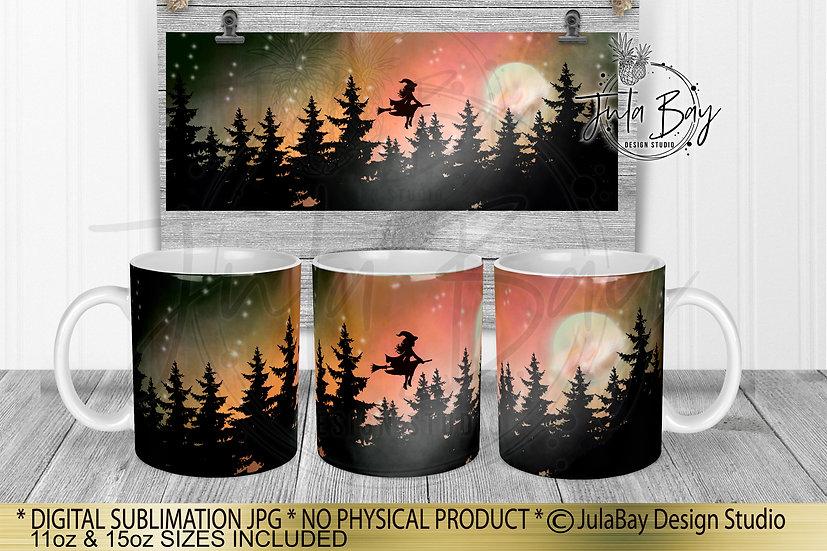 Halloween Mug Design Northern Lights Mug Wrap Sublimation Design Witch