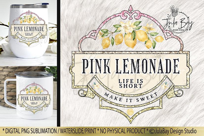 Pink Lemonade Waterslide Design Iced Tumbler Sublimation Design PNG