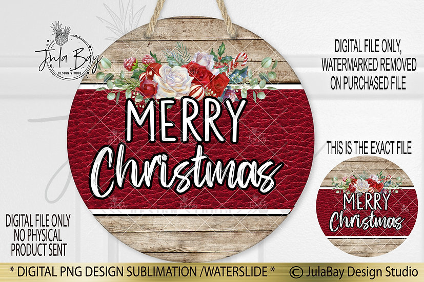 Round Sublimation Door Hanger Merry Christmas PNG Wood leather floral