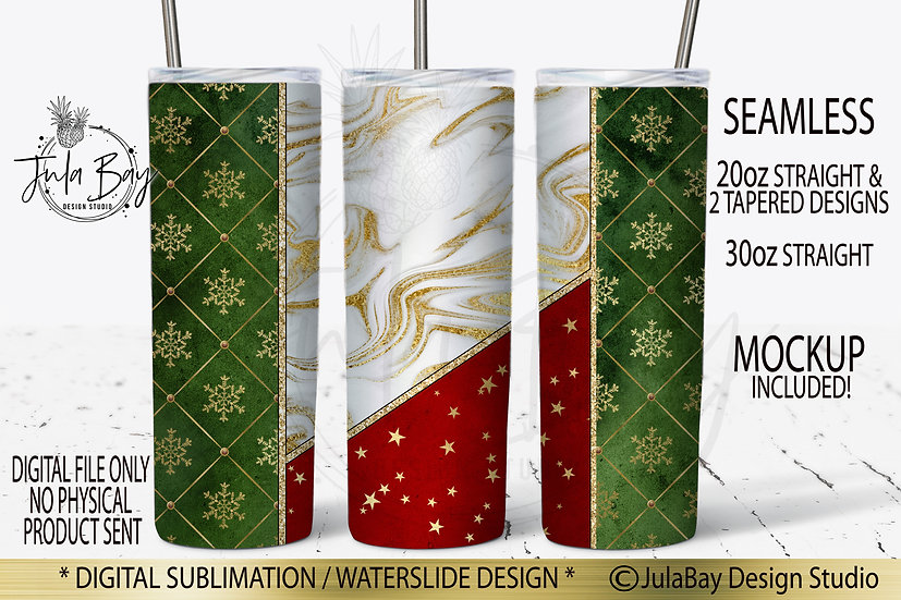Christmas Seamless full wrap tumbler sublimation design for 20oz Skinny Tumblers