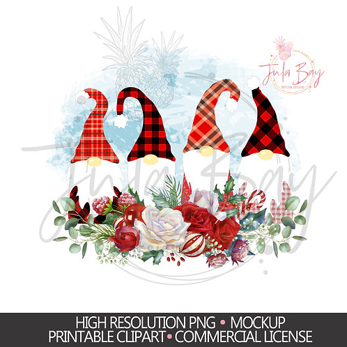 Christmas Gnomes PNG - Buffalo Plaid Gnomes Clipart 4 Gnomes Sublimation Design
