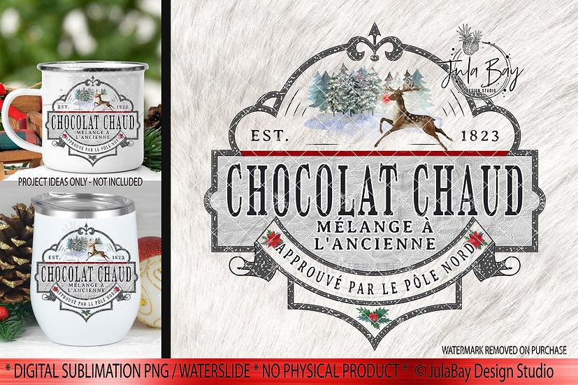 French Hot Chocolate PNG  étiquette chocolat chaud,  chocolat chaud Noël