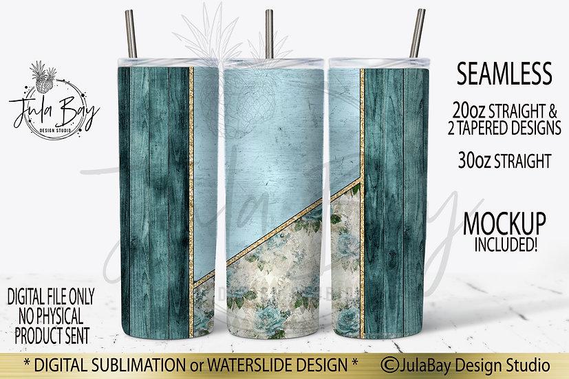 Shabby Chic Blue Rustic Full Wrap PNG  20oz Skinny Tumbler Design Wrap