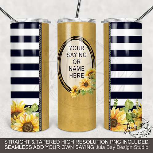 Sunflower Black and White Stripes PNG 20oz Skinny Tumbler Design Tapered Tumbler
