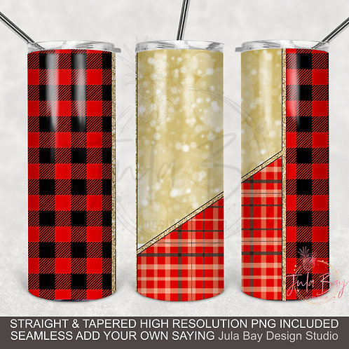 Buffalo Plaid Full Wrap PNG sublimation  Skinny Tumbler 20oz Christmas Winter