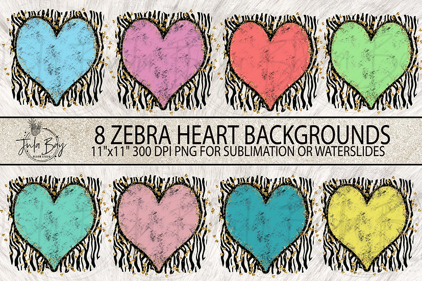 Zebra Grunge Heart Glitter Sublimation Background Designs PNG