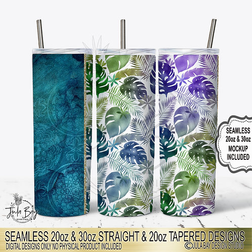 Tropical Leaves Skinny Tumbler Template PNG Design Full Tumbler Wrap Seamless Ta