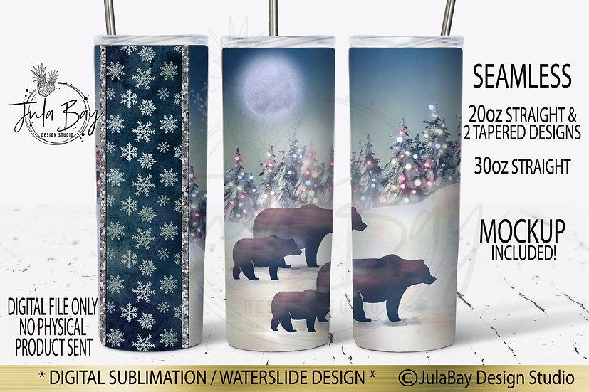 Christmas Family of 4 Bears Full Wrap PNG 20oz Skinny Steel Tumbler